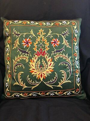 "Uzbek Handmade Suzani Silk Pillowcase, New, 19x19"" (49x49cm), Shipped from USA"