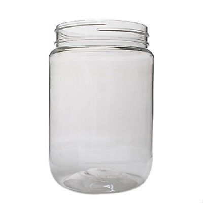 24 Pack 32oz Clear Round Wide Mouth PET Plastic Bottle Jars W/ Caps 967ml