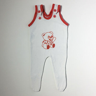70s Teddy Bear White Red Velour Baby Romper Footed Sleeper 0 3 Months FREE S/H