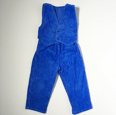 70s Blue Corduroy One Pc Vest Pants Suit Baby Boy 12 18 Months FREE SHIP