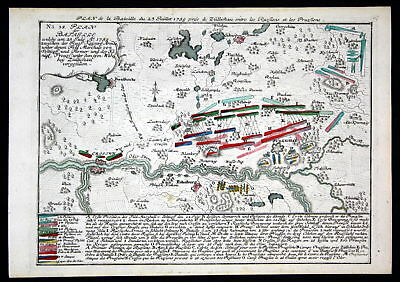 1759 Sulechow Swiebodzin map battle Karte Polska Kupferstich antique print