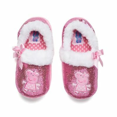 Toddler Girl Size Small 5-6 Pink Sparkle Peppa Pig Slippers Slipper Shoes NEW