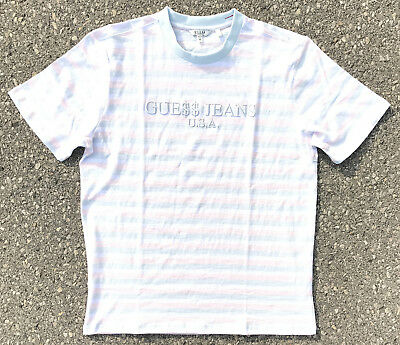 Guess x Asap Rocky 'Ice Cream & Cotton Candy' Blue Collar Stripes T-shirt