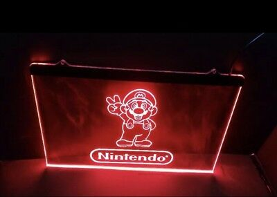 NINTENDO SUPER MARIO VIDEO GAME ARCADE LED NEON LIGHT SIGNS for Game Room. NEW!