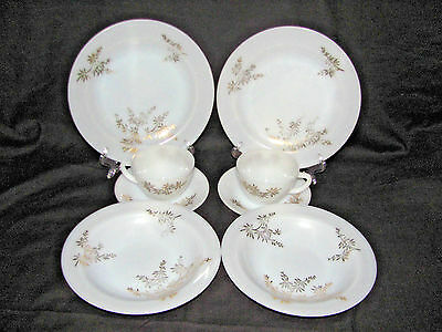 Federal Glass Golden Glory Milk Bamboo-2 Each-Plates, Soup Bowls, Cups & Saucers