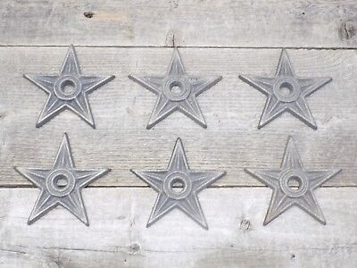 "6 Cast Iron Stars Washer Texas Lone Star Ranch 3 7/8"" Large Primitive Raw Craft"