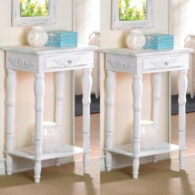 2 Nightstand Bedside End Tables Carved Legs White Table Set