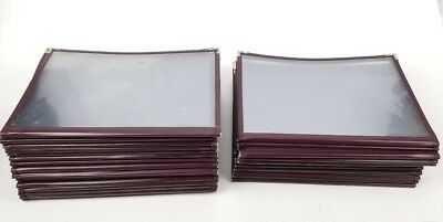 """(Lot of 30) 2 Page Restaurant Menu Covers Burgandy 8.5 x 11"""""""