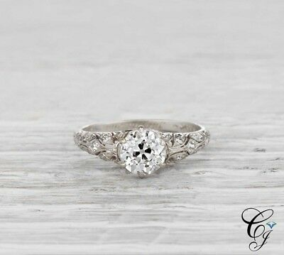 1Ct Round Diamond Antique Edwardian Art Deco Engagement Ring 925 Sterling Silver