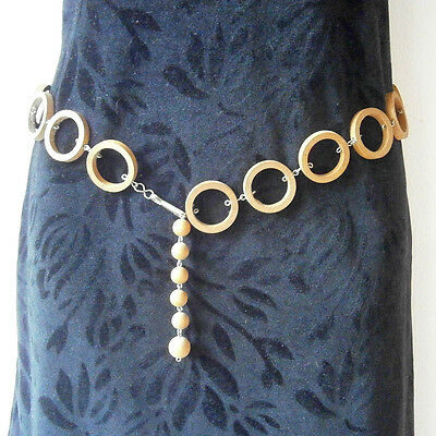 vintage swinging 60s fashion natural wooden hoops metal links chain belt #5023