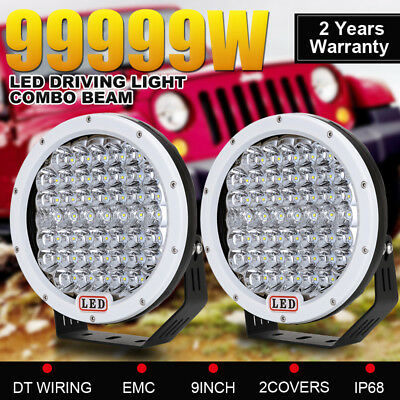 9inch 99999W CREE LED Driving Lights Work Round Spot&Flood 4WD Offroad SUV Jeep