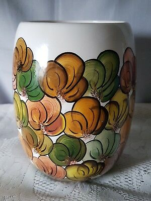 Beautiful Vintage Australian Handpainted And Signed Pottery Vase.  Autumn Palete
