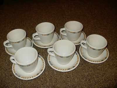 VINTAGE SHENANGO RESTAURANT WARE CHINA CUPS and SAUCERS ESQUIRE GREEK KEY