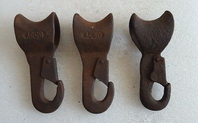 3 ANTIQUE Vintage AJAX ACCO Cast Iron / Steel Pulley Hooks Clips STEAMPUNK DECOR