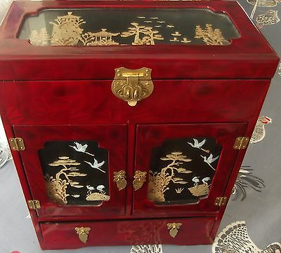 CHINESE ASIAN WARDROBE STYLE WOODEN JEWELLERY BOX/CHEST/MUSICAL  (Ref: SFS)