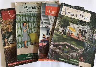 VINTAGE American Home Magazine 1944 & 1945–lot Of 4