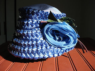 Vintage 1950s Woven Women's Blue Bucket and Flower Hat