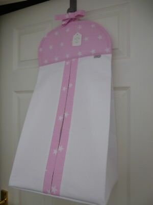 Baby Nappy Stacker Pink and White Star Cotton Trim Nursery Shower Gift BRAND NEW
