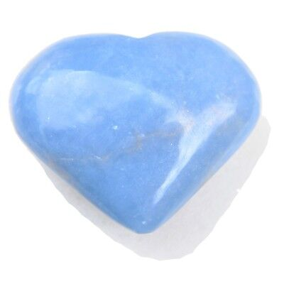 ZENERGY GEMS™: CHARGED Angelite Crystal Heart Hand-Carved Peaceful Energy WOW!