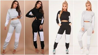 UK 2PC Womens Contrast Colour Block LoungeWear Sweatshirt Joggers Tracksuit Top
