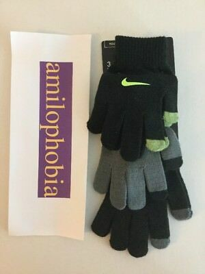 New Youth Nike Touchscreen Gloves Black Gray 3 Pack Size 8/20