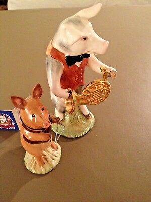 "Pottery & Glass Beswick Pig James 4"" Missing His Musical Instrument But He Is In Tact."