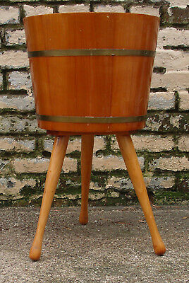 Antique Vintage 1960s 3 Leg Wooden Bucket Pail Plant Stand Holder Planter Firkin