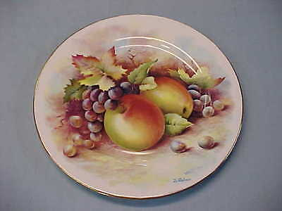 "Vintage Signed D Wallace Fruits with Gold Trim 10 1/2"" China Plate England"