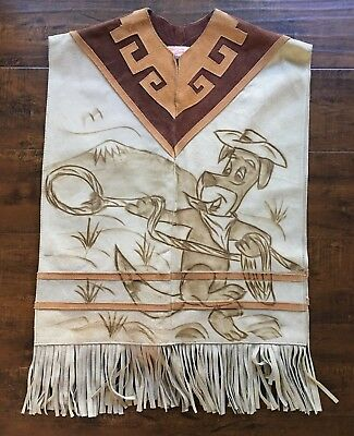 Mexico Western Riding  Leather Poncho Serape Southwestern cowboy Dog and Horse