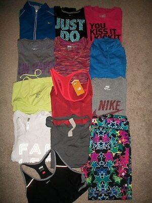 Guc! Lot Of 13 Womens Size L Workout Yoga Athletic Wear Under Armour Nike