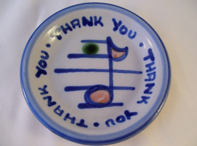 "M.A Hadley Pottery Thank You Round Trinket Tip Dish Plate 4"" Coaster Music Note"