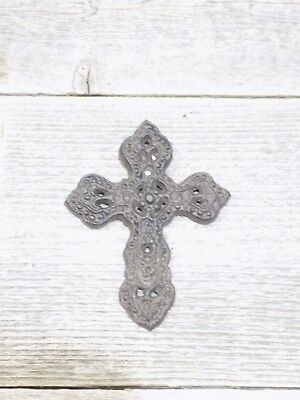 "Rustic Cast Iron Cross With Wall Mount 4 1/4"" X 3 1/4"" Hanging Christian Decor"