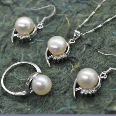 various style 9.5-10mm button freshwater pearl sets earring ring pendant Q30211