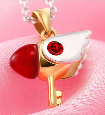 Card Captor Sakura Kinomoto Sakura Star Wand Key Necklace Pendant Chain Cosplay