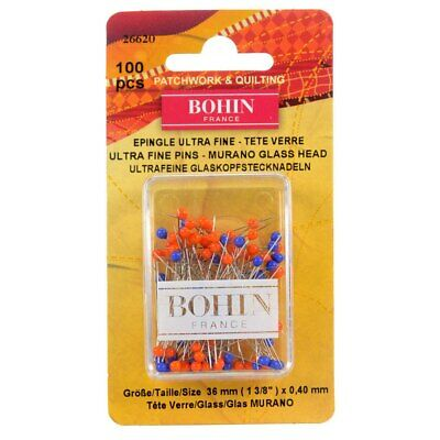 Bohin Ultra Fine Glass Head Pins 100 Pieces Quilting Sewing Craft DIY