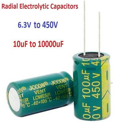 6.3V-450V High Frequency LOW ESR Radial Electrolytic Capacitors 10uF-10000uF