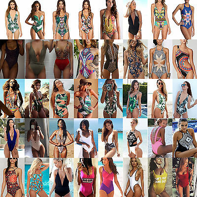 Womens One Piece Monokini Bandage Push Up Padded Bikini Swimwear Swimsuit Bather