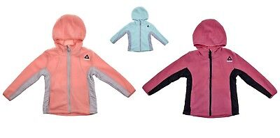 Girls Mixed Media Fleece Active Jacket with Hood Size 5/6  by REEBOK NWT