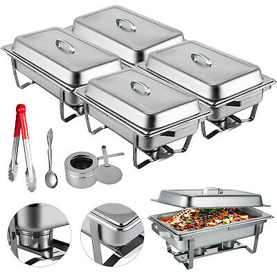 4 Pack Premier Chafers Stainless Steel Chafing Dish 9 Qt. Full Size Buffet Trays