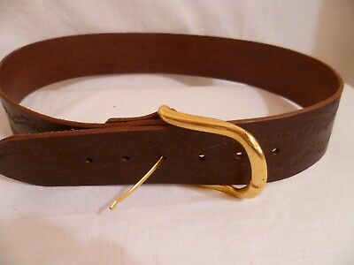 Vintage Hippy Boho Brown Leather Tooled Wide Belt Brass Buckle Retro 101cm