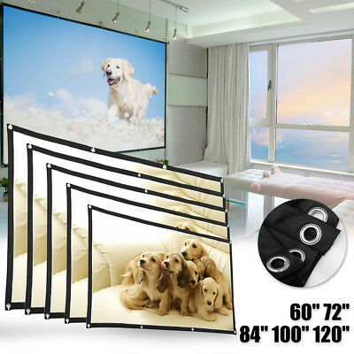 """60-120"""" 16:9 4K 3D Hanging Projector Screen Home Cinema Theater Movie Projection"""