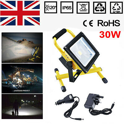 20W COB LED Rechargeable Cordless Thin Portable Work Site Flood Light Camping