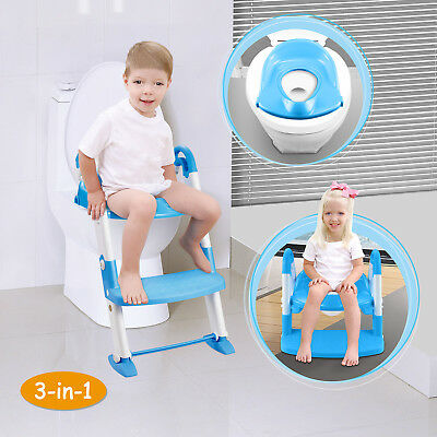 Blue 2 in 1 Baby Toilet Trainer Child Toddler Kid Potty Training Seat Fun Chair