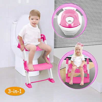 2 in 1 Baby Toilet Trainer Child Toddler Kids Potty Training Seat Fun Chair Pink