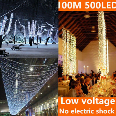 100M 500LED Fairy String Lights Outdoor Christmas Flashing Party SAA Warm White