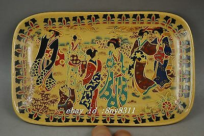 Rare Old Porcelain Painting Dowager Wear Showily Talk Together Usable Plate