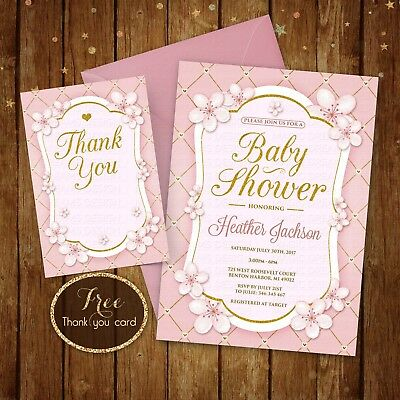 Pink White And Gold Baby Shower Invitation With Flowers Digital