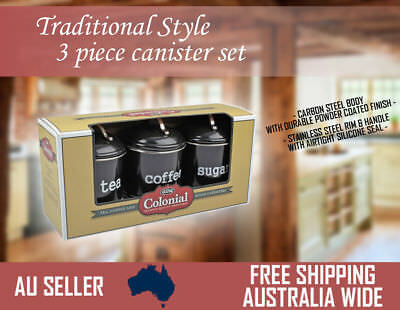 Set of 3 Canister Tin Metal Colonial 1 Litre Black - Coffee Tea and Sugar
