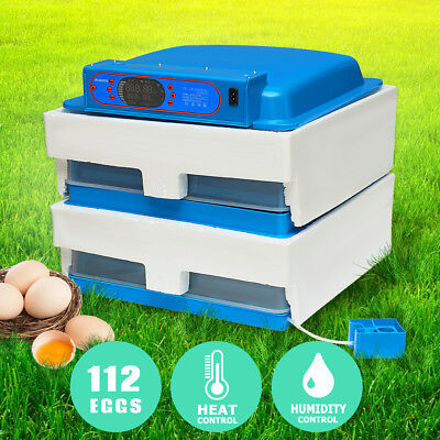Dual Power Supply 112 Egg Automatic Digital Incubator Chicken Poultry Hatcher