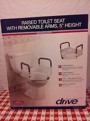 Drive Medical Elevated Raised Toilet Seat with Removable Padded Arms, White